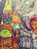Искусства эскиза иллюстрации чертежа pics trippy psychadellic случайный холодный стоковая фотография