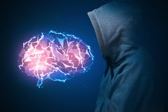 искусственний мозг обходит вокруг mainboard электронной сведении принципиальной схемы сверх Стоковая Фотография