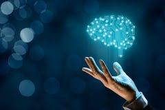 искусственний мозг обходит вокруг mainboard электронной сведении принципиальной схемы сверх стоковое фото