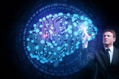 искусственний мозг обходит вокруг mainboard электронной сведении принципиальной схемы сверх Стоковые Фотографии RF