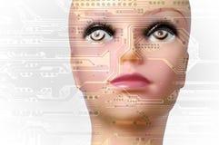 искусственний мозг обходит вокруг mainboard электронной сведении принципиальной схемы сверх Стоковые Фото