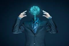 искусственний мозг обходит вокруг mainboard электронной сведении принципиальной схемы сверх Стоковые Изображения RF