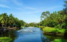 искусственний пруд фонтана Стоковое Фото