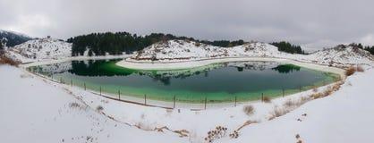 Искусственное озеро в зиме Стоковое фото RF