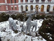 Искусственные олени на покрытом снег glade Стоковое фото RF
