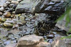 Искусственный водопад на декоративных камнях стоковая фотография rf