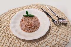 Искусственный или поддельный Брайн/грубый рис с серебряной ложкой стоковая фотография