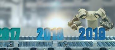 искусственный интеллект 2019 год или концепция ai футуристическая, ассистентский робот пробуют положить номер Нового Года приходя стоковая фотография