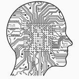 искусственный интеллект Изображение планов человеческой головы, внутри чего абстрактная монтажная плата иллюстрация вектора