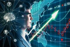 Искусственный интеллект и концепция торговлей стоковая фотография rf