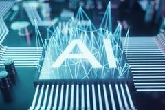 искусственный интеллект конспекта иллюстрации 3D на плате с печатным монтажом Концепция технологии и инженерства невроны иллюстрация вектора