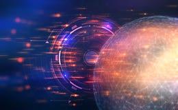 искусственный интеллект Контроль над глобальной вычислительной сетью иллюстрация 3D на футуристической предпосылке иллюстрация вектора