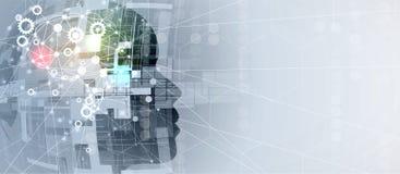 искусственный интеллект Предпосылка сети системы шестерни технологии Виртуальное conc бесплатная иллюстрация