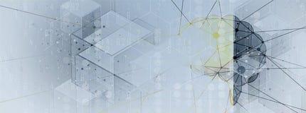 искусственный интеллект Предпосылка сети технологии Виртуальное conc иллюстрация вектора
