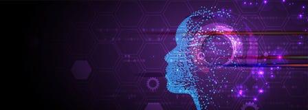 искусственный интеллект Предпосылка сети технологии Виртуальное conc иллюстрация штока