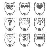 Искусственный интеллект - ` собаки-fron ` значка AI установленное иллюстрация вектора