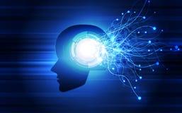 искусственный интеллект Технология AI цифровая в будущем Виртуальная концепция иллюстрация цветков предпосылки свежая выходит век иллюстрация вектора