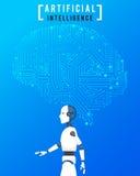 Искусственный интеллект (AI) с высокой технологией на голубом backgr иллюстрация штока