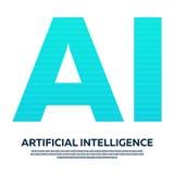 Искусственный интеллект письма AI с бинарным кодом также вектор иллюстрации притяжки corel иллюстрация вектора