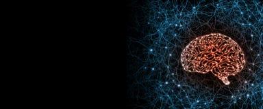 Искусственный кибернетический мозг цепи внутри человеческого взгляда со стороны системы нервов Концепция совмещения био организма иллюстрация вектора