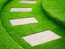 Искусственный путь прогулки зеленой травы с конкретной плитой Стоковые Изображения