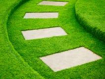 Искусственный путь прогулки зеленой травы с конкретной плитой Стоковые Изображения RF