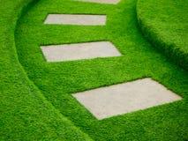 Искусственный путь прогулки зеленой травы с конкретной плитой Стоковые Фотографии RF