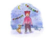 Искусство акварели чертежа руки с поя девушкой, собакой, луной и гирляндой на фоне снежного вечера бесплатная иллюстрация