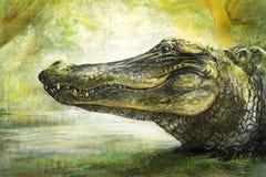 Искусство аллигатора в пастели иллюстрация вектора