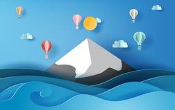 искусство бумаги 3D плавать на небо, сцена воздушных шаров сезона лета иллюстрации красочный вида на море горы ландшафта снежная, бесплатная иллюстрация
