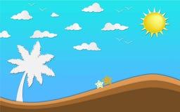 Искусство бумаги origami Seascape в иллюстрации голубого неба и песка Стоковые Фото