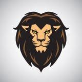 Искусство вектора дизайна логотипа талисмана льва головное Стоковое Изображение RF