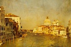 Искусство Венеция, Италия Гондолы на грандиозном канале Стоковое Фото