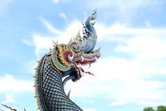 Искусство виска Таиланда Nagas в буддийском виске Стоковое Изображение