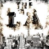 Искусство города Лос-Анджелеса ЛА стиля улицы графическое Печать моды стильная Одеяние шаблона, плакат ярлыка карточки эмблема, ш Стоковое Изображение RF