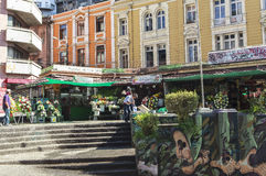 Искусство граффити города ValparaÃso в Чили стоковая фотография