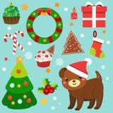Искусство зажима рождества стикеры 2018 Новых Годов, элементы дизайна Собака, спрус, венок, тросточки конфеты и другие символы дл иллюстрация вектора