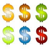 Искусство зажима 2 денег знаков доллара Стоковые Фотографии RF