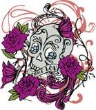 Искусство дизайна иллюстрации вектора черепа розовое Стоковые Изображения RF