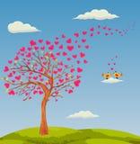Искусство иллюстрации вектора дерева влюбленности с сердцем выходит Стоковая Фотография