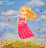 Искусство иллюстрации молодой красивой беременной белокурой женщины Стоковое Изображение RF
