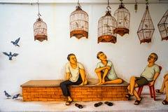 Искусство или граффити улицы Tiong Bahru на стене Стоковые Фотографии RF
