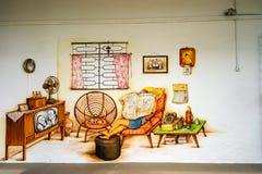 Искусство или граффити улицы Tiong Bahru на стене стоковая фотография