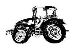 Искусство иллюстрации аграрного трактора иллюстрация вектора