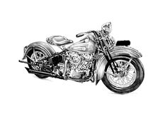 Искусство иллюстрации мотоцикла изолированное чертежом Стоковые Фото