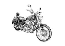 Искусство иллюстрации мотоцикла изолированное чертежом иллюстрация вектора