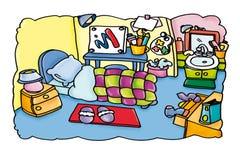 Искусство комнаты с куклами кота, тапочками Стоковое Изображение