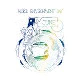 Искусство концепции иллюстрации эскиза вектора День окружающей среды открытки или плаката на пятой части от июня Ландшафт от Стоковое Изображение