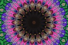 Искусство мандалы, геометрическая предпосылка обоев мандалы расположения калейдоскопа Стоковые Фотографии RF