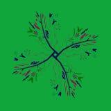Искусство мандалы дерева стильное: ГОЛУБОЙ ЗЕЛЕНЫЙ ЦВЕТ Стоковое Изображение RF